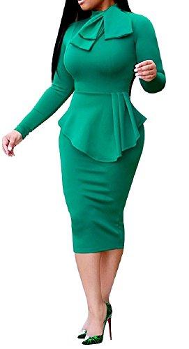 Sorrica Élégante Des Femmes De Peplum Cou Cravate Haut Robe Crayon Moulante Robe De Cocktail Affaires Gaine Taille Verte