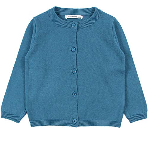 - JELEUON Little Girls Cute Crew Neck Button-Down Solid Fine Knit Cardigan Sweaters 90cm