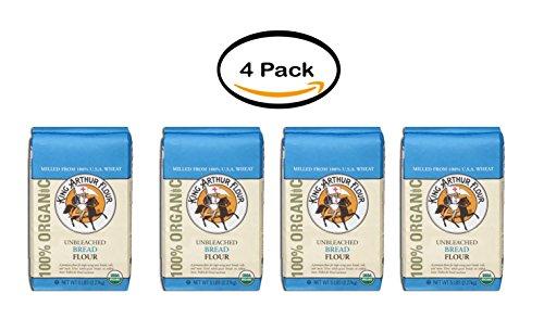 PACK OF 4 - King Arthur Flour 100% Organic Unbleached Bread Flour 5 lb. Bag