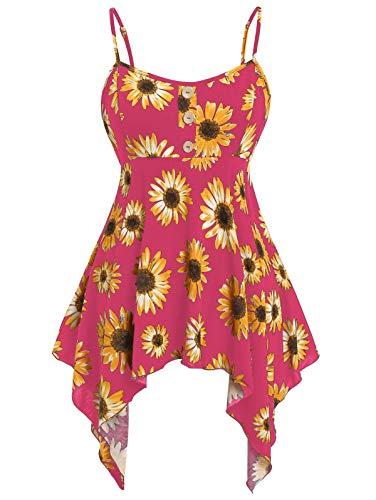KCatsy Women Plus Size Asymmetric Sunflower Print Tank Top Rose Red