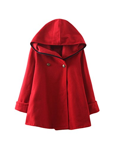 Frauen lose Kapuzen Cape Wollmantel Red XL
