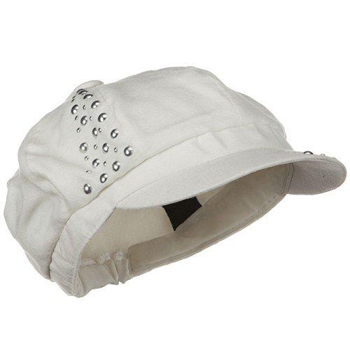 Studs Suede Newsboy Hat - Ivory
