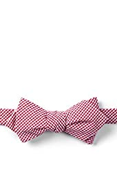 Red Chamberlain Check Candy Apple Red Seersucker Diamond Tip Bow Tie