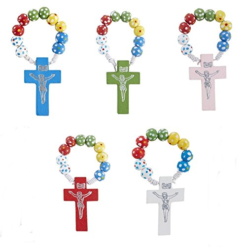 Wooden Rosary Rings with Assorted Color Crosses by Needzo Inc, Pack of 50, 2 1/2 Inch Color Wooden Rosary Wood