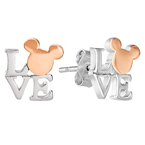 Disney Mickey Mouse, Two Tone Brass Mickey Mouse Love Stud Earrings ()