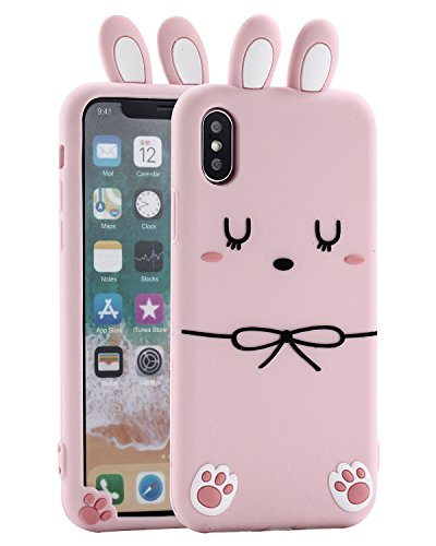 iPhone X Bunny Case, Miniko(TM) Cute Kawaii Funny Rabbit Ears Bowknot 3D Cartoon Animals TPU Soft Silicone Gel Phone Case Cover for iPhone X (2017) Teen Girls Women, Pink