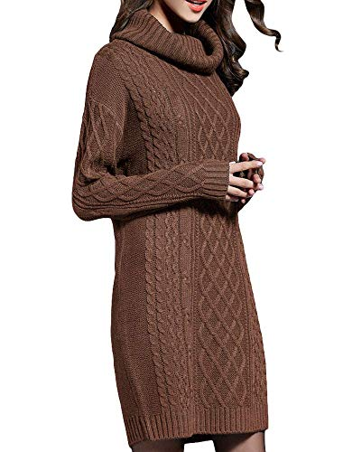 NUTEXROL Women's Long Sleeve Turtleneck Knit Thick Cable Pullover Sweater Dress Brown L