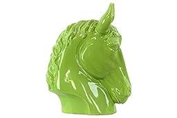 Urban Trends Ceramic Horse Head, Small, Gloss Green