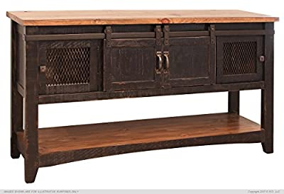 Greenview Black Solid Pine Sofa Table, Mash Doors