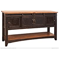 Greenview Black Solid Pine Sofa Table, Mesh Doors