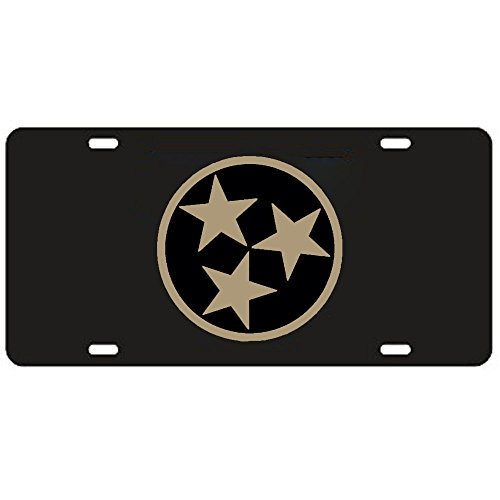 Tennessee Black Tri-Star Laser Cut License Plate - Gold Mirrored Logo