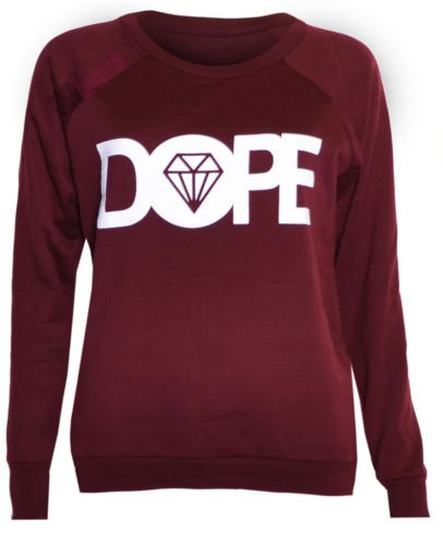 (womens dope sweater top) Para mujer dope suéter superior ((wine) vino