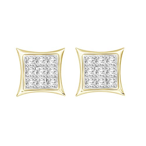 Eternal Bliss 0.05 cttw Round Diamond Accent Square Yuva Kite Stud Earrings in 10kt Gold (Yellow-Gold)