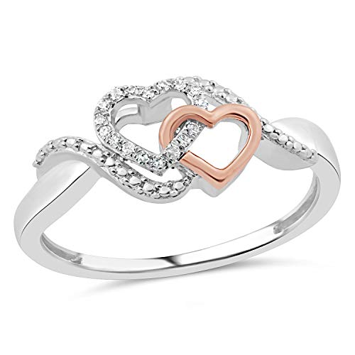 Diamond Promise Ring in Sterling Silver with 10k Rose Gold Heart 1/20 cttw-Size 5