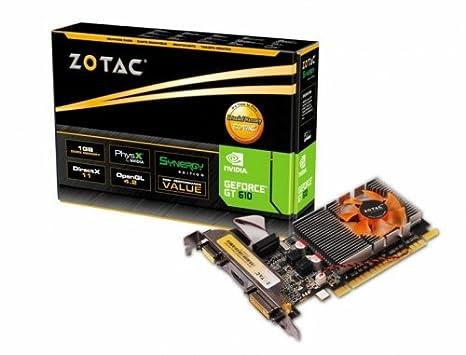 Zotac Synergy - Tarjeta gráfica con GeForce GT 610 (1 GB DDR3, 1620 MHz, PCI-E)