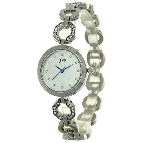 Luxury Rhinestone Bracelet Jewelry Watch Fashion Womens Silver Stainless Steel Chain Jewelry Crystal Wristband Fashion Strap Heart Pattern Dial Wristwatch (Watch Jewelry Review)