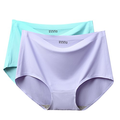 Wbeng Women's Seamless Ice Silk Hipster Middle Waist Breathable Underwear Plus Size Briefs Bikini Panties Pack of 2