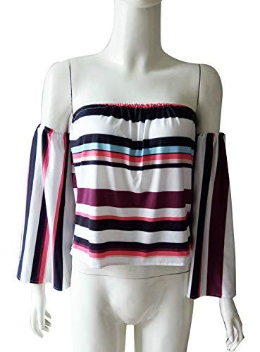 t Manches Raye Col Shirt T Longues Tee Chemisier OUFour Top Blouse Shirts Femme Haut Blanc Bateau Tops Fashion HnPwdSX