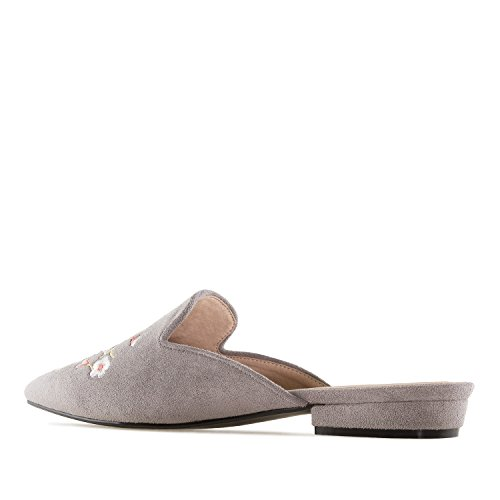 Andres Machado AM5249 Suede Flower Flat Mules.Large Sizes:UK 8 to 10.5/EU 42 to 45. Grey Suede Flower GNOAfhxhx