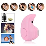 Bluetooth Headphones Wireless Invisible Mini Earphone Earbud Support Hands-free Calling For iPhone iPad Samsung Xiaomi Sony Lenovo HTC LG and Most Smartphones (Pink)