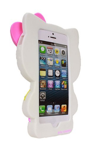 watch 148b4 6c73b Hello Kitty Silicone Case for iPhone 5/5S - Retail Packaging -  White/Pink/Yellow