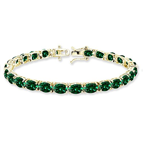 Yellow Gold Flashed Sterling Silver 7x5mm Simulated Emerald Oval-cut Classic Tennis Bracelet