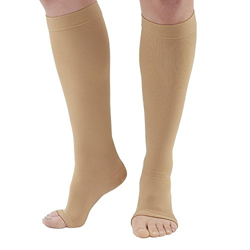 Ames Walker AW Style 322 Anti-Embolism 18 mmHg Compression Open Toe Knee High Stockings Beige XXL - Non-ambulatory patients - Reduce possibility of pulmonary embolism - Replacement for Kendall Teds