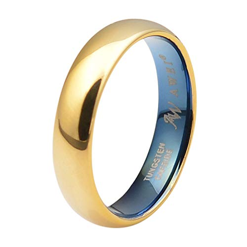 AW Comfort Fit Domed Tungsten Carbide Ring Classic Wedding Band Engagement Ring, Gold Ring, 5mm Size 8