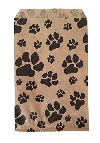 "100 Bags Flat Plain Paper or Patterned Bags for Candy, Cookies, Merchandise, pens, Party Favors, Gift Bags (5"" x 7"", Paw Print)"