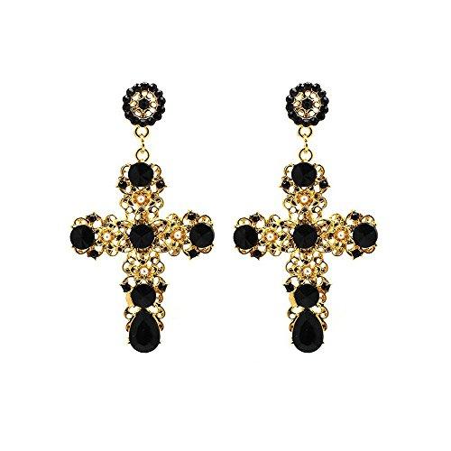 IndigoEarrings Big Boho Rhinestone Dramatic Cross Earrings - more colors available (Black) (Earrings Cross French Hook)