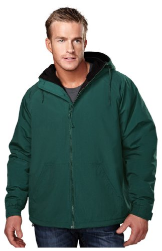 Tri-Mountain Heavyweight Toughlan Nylon Hooded Jacket - 8480 Conqueror Forest Green/Black - Hood Barbour
