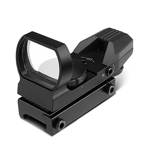 Flexzion Reflex Sight Red/Green Dot Sightmark Tactical 4 Reticle Holographic Picatinny Rail Reflex Optic - Hunting Paintball Tool for Shotgun Rifle Pistol Scope with Locking Screw & Battery