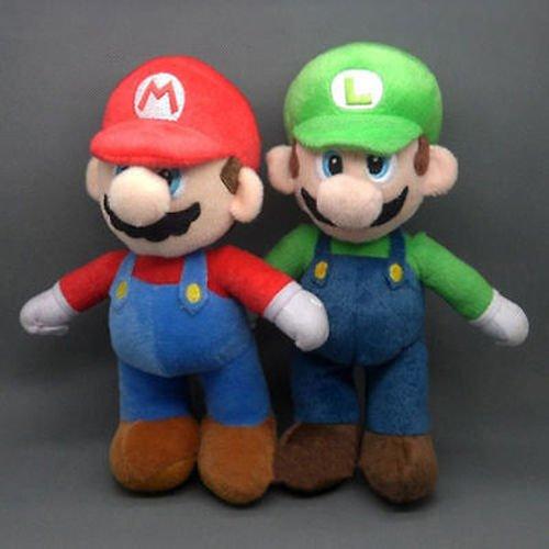 (2 Pcs/Set New Super Mario Bros. Stand LUIGI & MARIO Plush Doll Stuffed Toy)