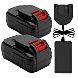 Exmate 2 Pack 18V 3.5Ah Ni-MH Replacement Battery with Multivolt 1.2V-18V Charger for Porter Cable PC18B PCC489N PCMVC PCXMVC
