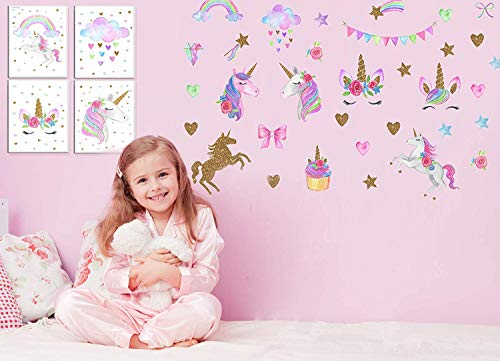 - Unicorn Decorations for Girls Bedroom - 66pcs Unicorn Wall Decal Stickers, Set of 4 Unicorn Posters Canvas Wall Art Prints for Kids, Children Gifts, Nursery Home Room Decor, Unicorn Party Favors