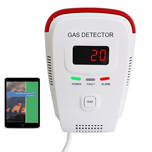 Natural Gas Sensor - Propane / Natural Gas Detector, Home Gas Alarm; Leak Tester, Sensor; Monitor Combustible Gas Level: Methane, Butane, LPG, LNG; Voice / Light Warning & LED Display, Prevent Fire Explosions; eBook
