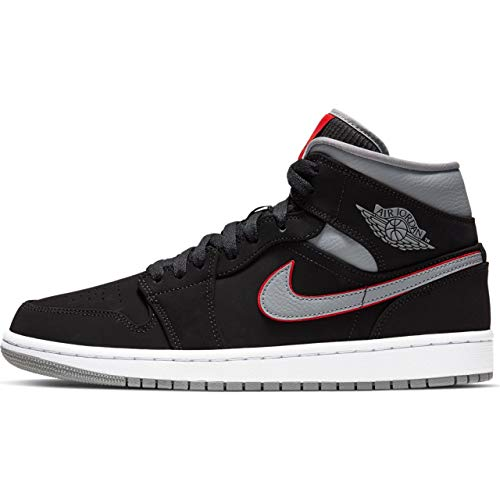 Nike Air Jordan 1 Mid Mens Sneakers 554724-060, Black/Particle Grey/White, Size US 10.5