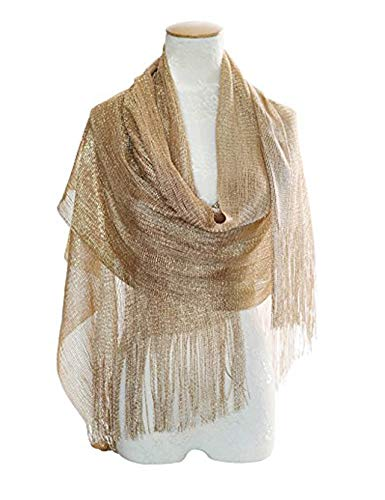 MissShorthair Womens Wedding Evening Wrap Shawl Glitter Metallic Prom Party Scarf with Fringe (2 Metallic Champagne -