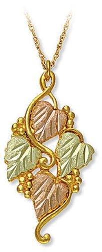 Landstroms 10k Black Hills Gold Pendant Necklace with Leaves and Grape Cluster, 18