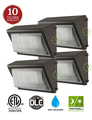 (4 Pack) 60W LED Wall Pack with Dusk-to-Dawn Photocell, IP65 Waterproof Outdoor Lighting Fixture, 200-300W HPS/MH Replacement, 7200lm 5000K 100-277Vac ETL&DLC Listed 10-Year Warranty by Kadision ()