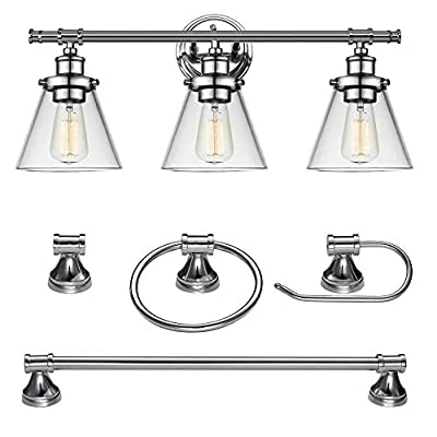 "Globe Electric 51234 5-Piece Parker All-in-One Bath Set, 3-Light Vanity, Bar, Towel Ring, Robe Hook, Toilet Paper Holder, Chrome Finish - ALL IN ONE: update your bathroom easily with a matching 3-light vanity fixture, towel bar, toilet paper holder, towel ring and robe hook with a modern chrome finish VINTAGE REFINED DESIGN: with a clean, simple, updated vintage design, this set will modernize any bathroom décor MEASUREMENTS: Bar: 20.87"" W x 2.72"" D. Towel Ring: 6.1"" W x 6.88"" H x  2.72"" D. Robe Hook: 2.2"" W at the base x 2.2"" D. Toilet Paper Holder: 6.69"" W x 2.77"" D. Vanity: 24.63"" W x 11"" H x 7.92"" D. Shades: 6.5"" W x 5.32"" D - bathroom-lights, bathroom-fixtures-hardware, bathroom - 41RLIqmxW0L. SS400  -"