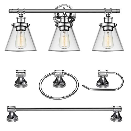 Globe Electric 51234 5-Piece Parker All-in-One Bath Set, 3-Light Vanity, Bar, Towel Ring, Robe Hook, Toilet Paper Holder, Chrome Finish, 0, 0 (Dimmer Switch Chrome)