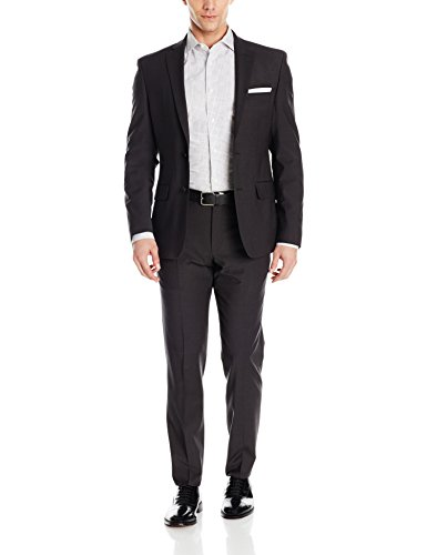 DKNY Men's Two Button Slim Fit Stretch Suit, Charcoal, 42 Regular Two Button Wool Suit