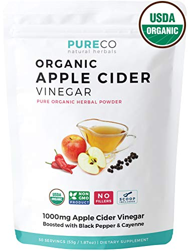 USDA Organic Apple Cider Vinegar (Powder) with Black Pepper + Cayenne for Better Absorption & Metabolism Boost - ACV Supplement to Detox & Cleanse - Diet & Weight Loss - 50 Servings: No Capsule Pills