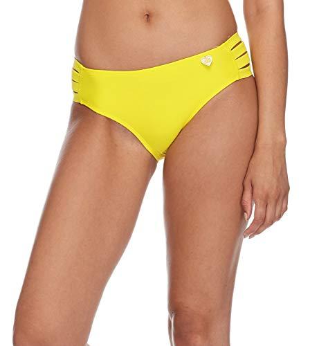Body Glove Women's Smoothies Nuevo Contempo Solid Full Coverage Bikini Bottom Swimsuit, Citrus, Large