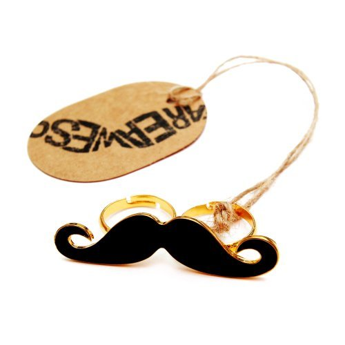 Schnurrbart Ring Mustache Doppelring Moustache Bart schwarz - verstellbare Größe - Party Beard WeAreAwesome