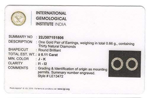 045d5ee8357 IGI Certified Open Circle Round Diamond Accent Stud Earrings in 10Kt White  Gold (0.12 Cttw)