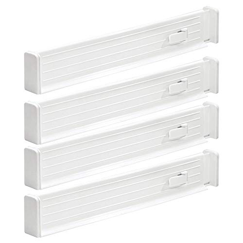 "mDesign Adjustable, Expandable Drawer Organizer/Divider - Foam Ends, Strong Secure Hold, Locks in Place - for Bedroom, Bathroom, Closet, Office, Kitchen Storage - 2.5"" High, 4 Pack - White"