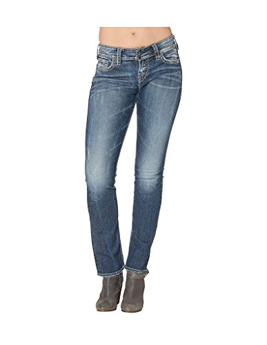 (Silver Jeans Co Women's Suki Curvy Fit Mid Rise Straight Leg Jeans , Vintage Dark Wash With Lurex Stitch, 36x32)