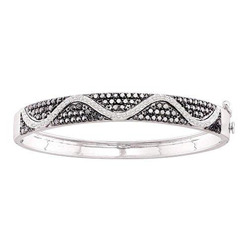 Sonia Jewels Black and White Round Diamond Channel Set Bangle Bracelet 14k White Gold (2.52 ()